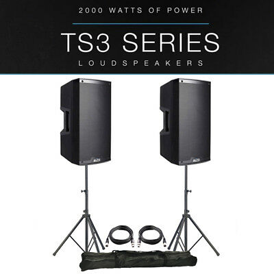 2x Alto TS315 15  4000W Powered Active PA Speaker Disco Band +XLR Leads +Stands • 658£