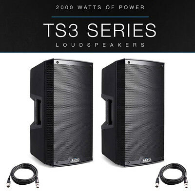 2x Alto TS315 15  4000W Powered Active PA Speaker Stage Disco DJ Band + XLR Lead • 658£