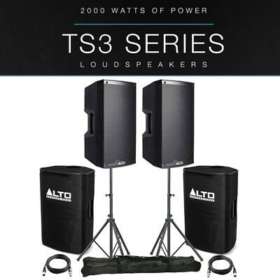 2x Alto TS315 15  4000W Powered Active PA Speaker DJ Band +Stands +Covers +Leads • 706£