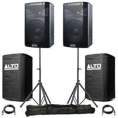 2x Alto TX210 10  600W Powered Active PA Speaker DJ Band +Covers +Leads +Stands • 346£