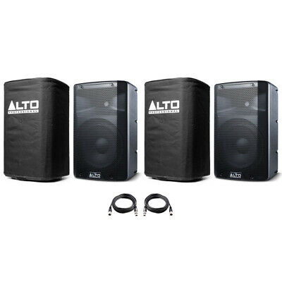 2x Alto TX210 10  600W Powered Active PA Speaker Or Monitor DJ Band +Cover +Lead • 316£