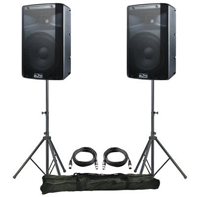 2x Alto TX210 10  600W Powered Active PA Speaker DJ Disco Band + Leads + Stands • 298£