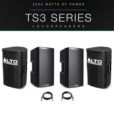 2x Alto TS310 10  4000W Powered Active PA Speaker Stage Monitor + Covers + Leads • 566£