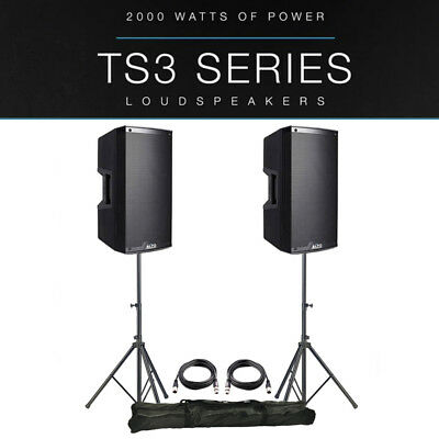 2x Alto TS310 10  4000W Powered Active PA Speaker Monitor DJ Band +Stands +Leads • 518£