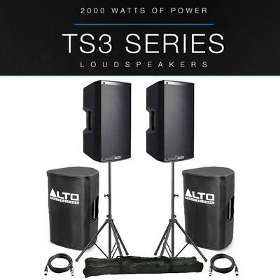 2x Alto TS310 10  4000W Powered Active PA Speaker DJ Band +Stands +Covers +Leads • 566£