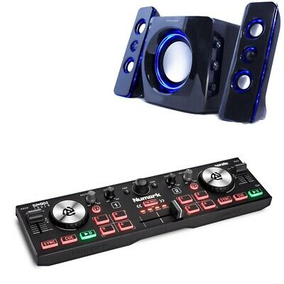 NUMARK DJ2GO2 Touch Serato DJ Lite Controller With NCUBE 2 2.1 Speaker Set BSTK • 89£