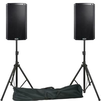 ALTO TS312 Active Powered PA DJ Speakers Inc Stands, Bag And Pro Cables. • 529£