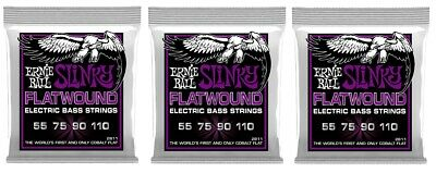 Ernie Ball 2811 Power Slinky Flatwound Electric Bass Strings 55-110 (3-Pack) • 65.10£