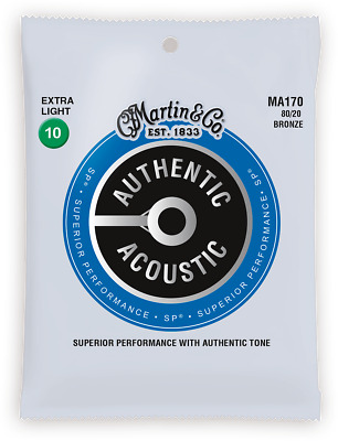 Set Strings Guitar Acoustic Martin Authentic Sp Extra Light MA170
