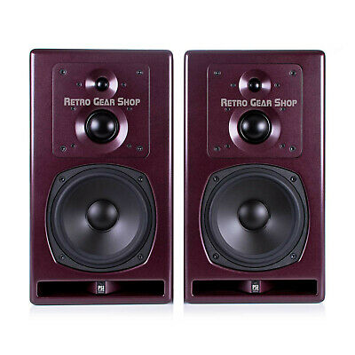 PSI Audio A23 M Pair 260W 3 Way Active Studio Monitor Speaker Red Burgundy A23M