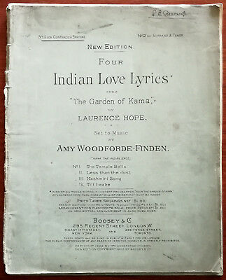 """Indian Love Lyrics from """"The Garden of Kama"""" Music by Amy Woodforde-Finden 1902"""