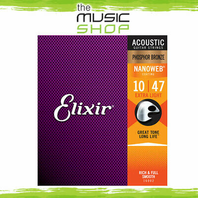 Elixir Nanoweb 10-47 Phosphor Bronze Acoustic Guitar Strings - Extra Light 16002 • 19.57£