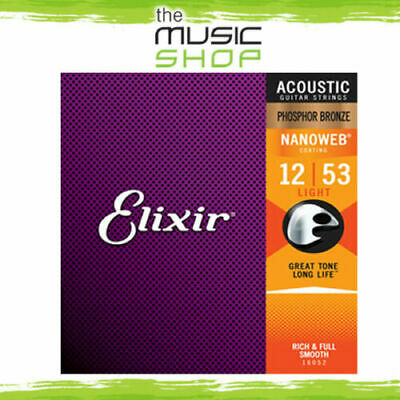 Elixir Nanoweb 12-53 Phosphor Bronze Acoustic Guitar Strings - Light 16052 • 19.57£