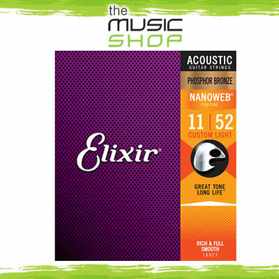 Elixir Nanoweb 11-52 Phosphor Bronze Acoustic Guitar Strings -Custom Light 16027 • 19.57£
