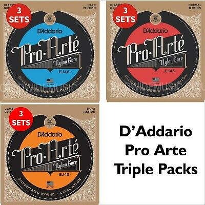 3 SETS D'Addario Pro Arte Classical Guitar Strings - Choice Of 3 Tensions • 30£