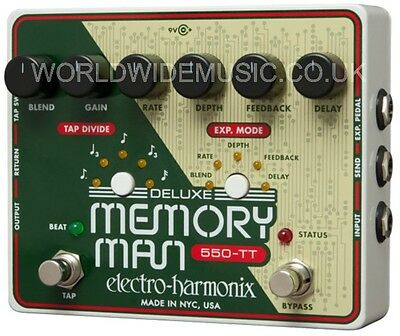 EHX Electro Harmonix 550TT Deluxe MEMORY MAN with Tap Tempo Guitar Effects Pedal