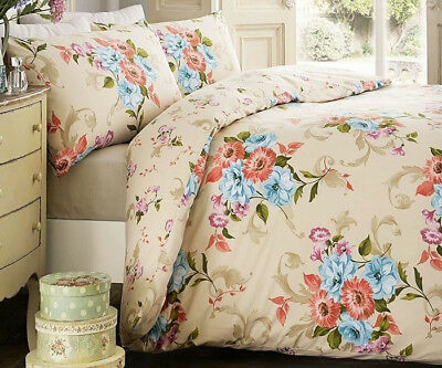 Ella, Floral Single Bedding & Pillowcase Set, Blue, Purple And Red Flowers • 8.95£