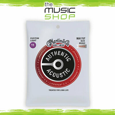 Martin Authentic Treated Acoustic Guitar Strings - Lifespan 2.0, 11-52,  MA175T