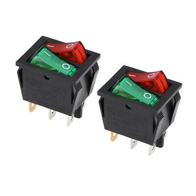 Double Position Rocker Switch Red Orange Toggle Switch AC250V/15A 125V/20A 2pcs • 2.99£