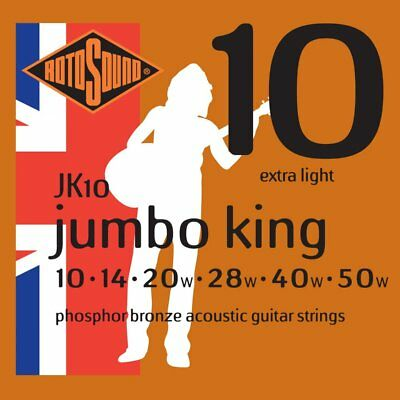 🎸 Rotosound JK10 Jumbo King Acoustic Guitar Strings   10-50   Made in the UK 🎸