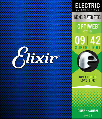 Elixir Optiweb Super Light 19002 Electric Guitar Strings 🎸 9-42 🎸Nickel Plated • 13.99£