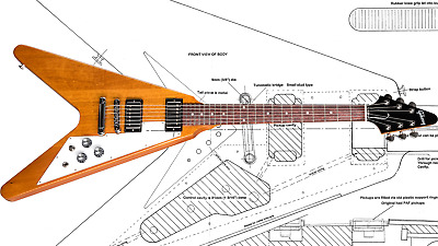 Gibson Flying V Full Scale Plans for Electric Guitar Build Luthier Blueprint