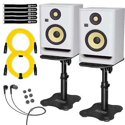 KRK ROKIT 5 G4 RP5G4 5  Active Studio Monitor Speakers White W Desktop Stands • 314.31£