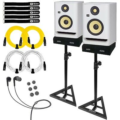 KRK ROKIT 5 G4 RP5G4 5  Active Powered Studio Monitor Speakers White With Stands • 314.31£