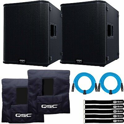 QSC KS118 18  3600 Watt Powered Active DJ PA Subwoofers Subs W Covers Pack • 2,208.95£