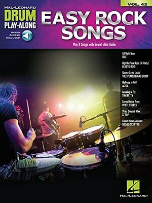 EASY ROCK SONGS: DRUM PLAY-ALONG VOLUME 42 By Hal Leonard Corp. **BRAND NEW** • 22.71£