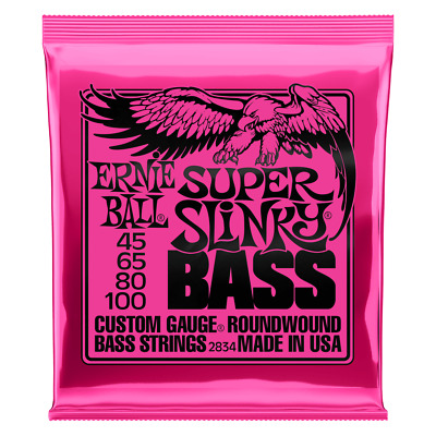 🎸 Ernie Ball Super Slinky 2834 Bass Guitar Strings | 45-100 | Nickel Wound 🎸 • 23.99£