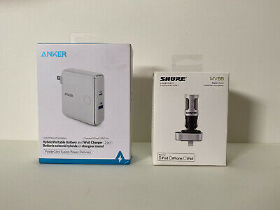 Shure Motiv MV88 Microphone IOS Apple + Anker Powercore Fusion Battery Charger • 126.37£