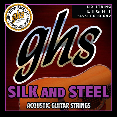 345 GHS Silk And Steel Acoustic Guitar String Set - Light 10-42 • 9.37£
