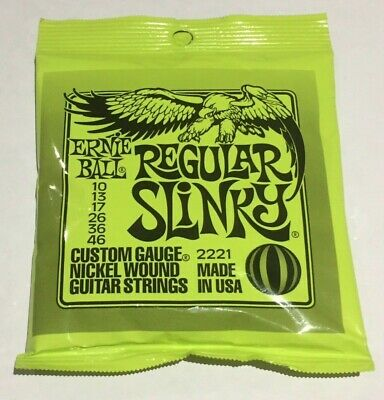 Ernie Ball 2221 Regular Slinky Electric Guitar Strings 10-46 • 8£