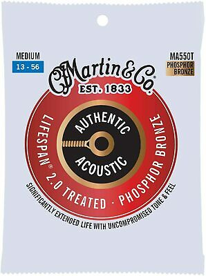 Martin Authentic Acoustic Treated Guitar Strings Medium 13-56 - MA550T • 11.25£