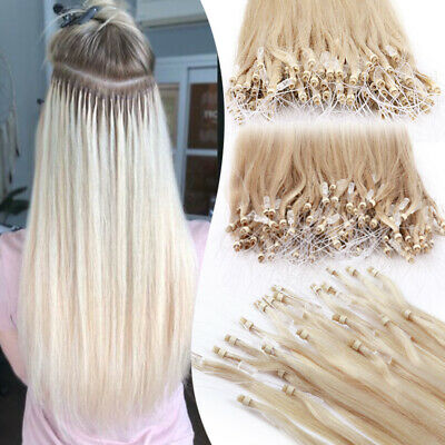 100% Real Remy Human Hair Extensions Micro Loop Ring Nano Beads Invisible Link W • 78.77£