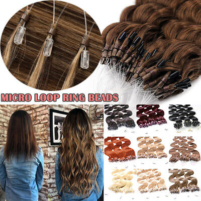 Pre Bonded Micro Loop Ring Beads 100% Real Human Hair Extensions THICK 150g W431 • 73.04£