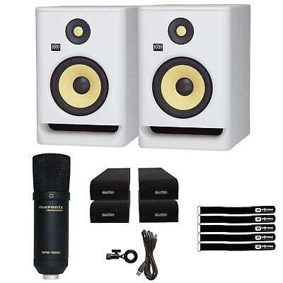 KRK ROKIT RP5 G4 5  Studio Monitor Speakers White Noise Edition W USB Mic & Pads • 262.89£