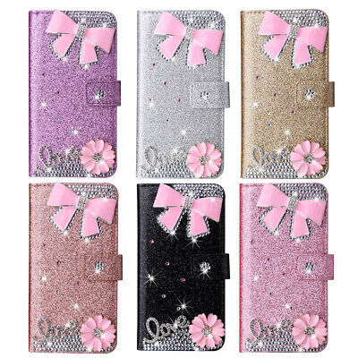 Case Cover For Huawei Y5 Y6 Y7 Nova 4 3E Enjoy 9E Bow-knot Bling Leather Wallet • 5.99£