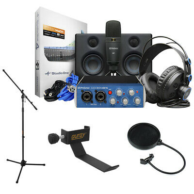 PreSonus AudioBox Studio Ultimate Bundle W/ Holder, Mic Tripod & Pop Filter • 238.78£