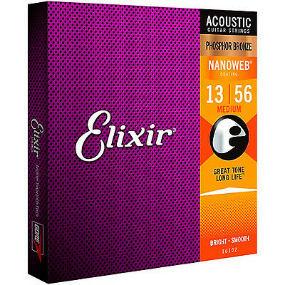 Elixir Phosphor Bronze Nanoweb Light Acoustic Guitar Strings - Medium 13-56 • 17.95£