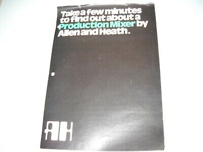 Allen And Heath, S6/2 Mixing Console Brochure Manual