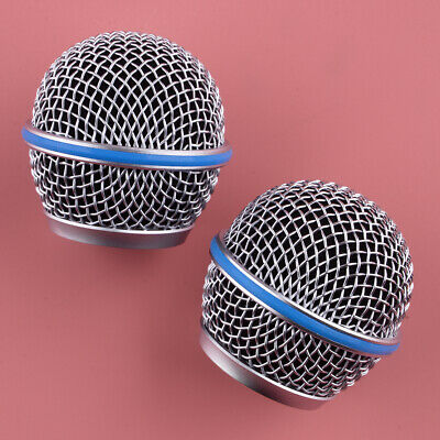 2Pcs Mic Ball Head Mesh Microphone Grille Grill Cover Fit For Shure Beta58A SM58 • 5.92£