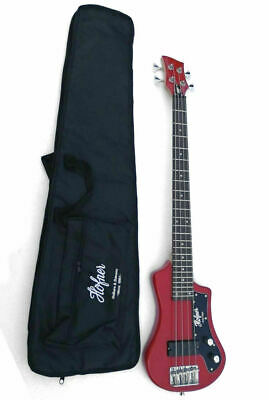Hofner HCT-SHB-BK-R Shorty Electric Travel Bass Guitar With Gig Bag, Red New • 165.04£