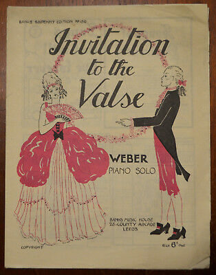 Invitation To The Valse by C. M. v. Weber, Piano Solo Banks Music House Pub.1930