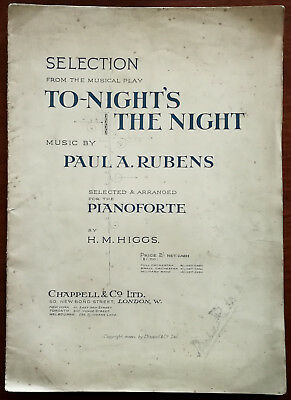 To-Night's The Night by Paul A. Rubens for Pianoforte, Chappell & Co – Pub. 1915