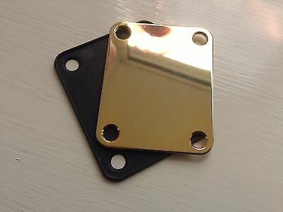 Gold Plated Neck Plate + Gasket fits Fender Squier Strat/Tele/Bass