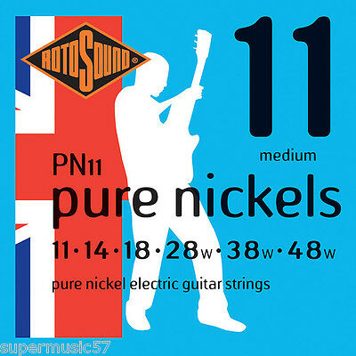 Rotosound PN11 Pure Nickel Electric Guitar Strings 11-48 Medium • 8.39£
