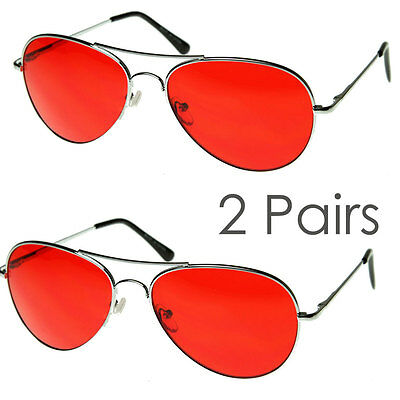 2 Pairs Mens Retro Classic Metal Pilot Red Lens UV Sunglasses Spring Hinge • 9.28£