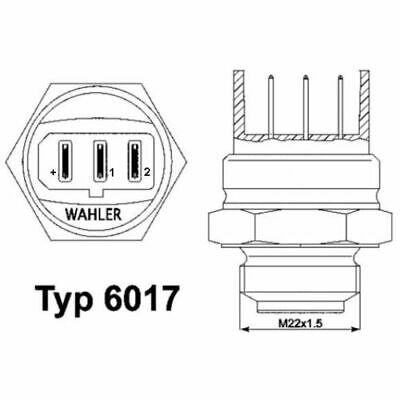 Wahler 6017.95D Thermoswitch, Radiator Fan • 29.93£